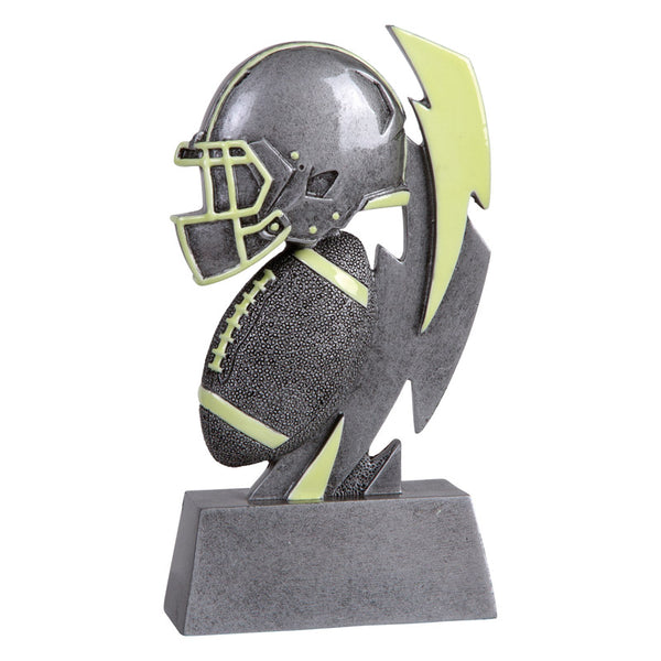 Silver and green glow in the dark football trophy featuring a rectangle base, football helmet, football, and lightening strike. All items have green glow in the dark accents on them.