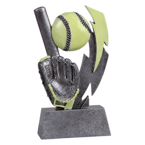 Silver and green glow in the dark softball trophy featuring a rectangle base, a softball glove, softball bat, and softball.