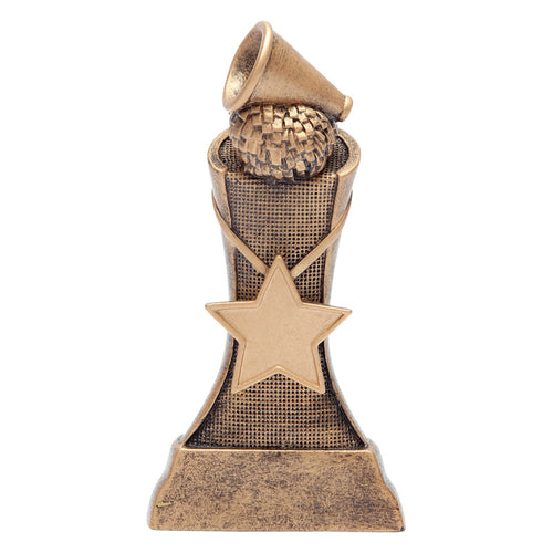 Bronze cheerleading resin featuring a star in the middle and a pom pom and megaphone at the top.