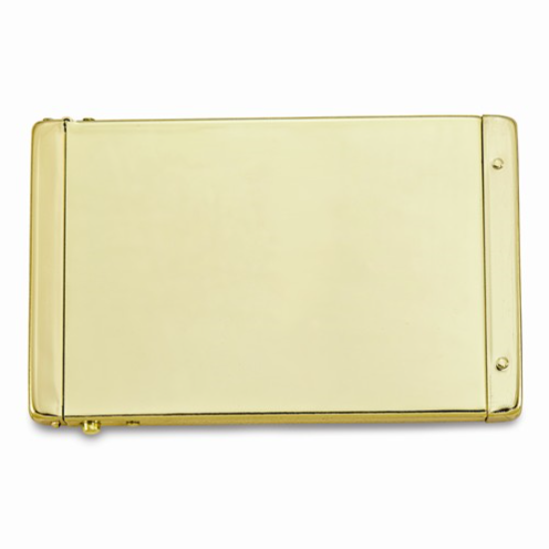 Shiny gold business card holder with a pop up top design.