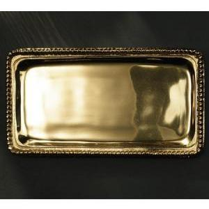 Tray - Beaded Gold Rectangle Custom Engraved