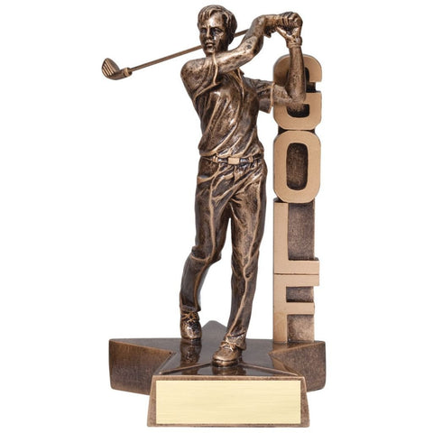 "Bronze colored golf resin featuring a star shaped base and a male golfer who has just swung his club and is looking off into the distance. The word ""GOLF"" is displayed beside him vertically."