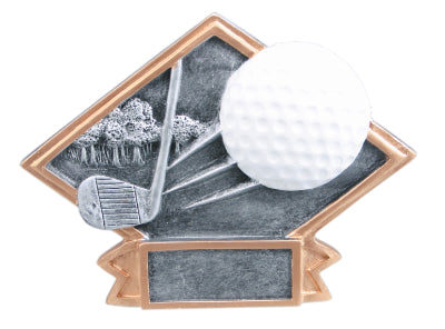 Silver and gold diamond shaped golf resin featuring a banner shape at the bottom that can hold an engraved plate, a golf ball, trees, and a golf club design throughout.