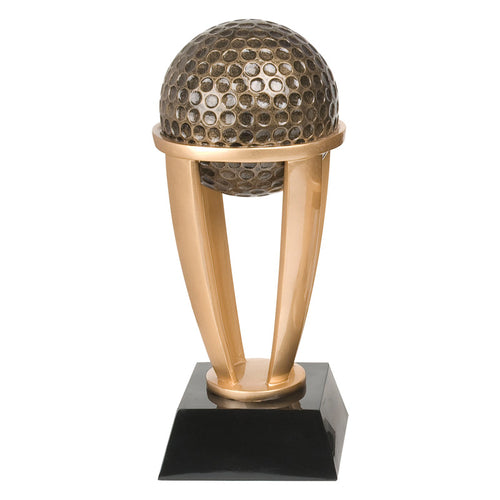 Large gold golf trophy featuring a black square glossy base with four curved posts lifting up a huge gold golf ball.