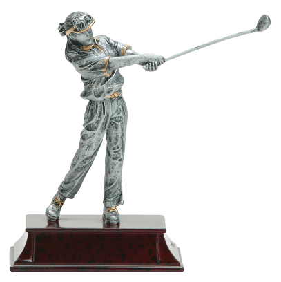 Female golf trophy featuring a dark maroon base and a young female golfer swinging a golf club and looking off into the distance.