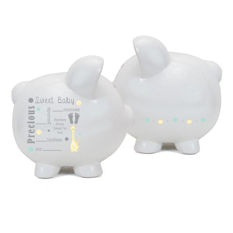 Large white ceramic piggy bank featuring a design on the side to fill in baby's weight, birthday, and length.