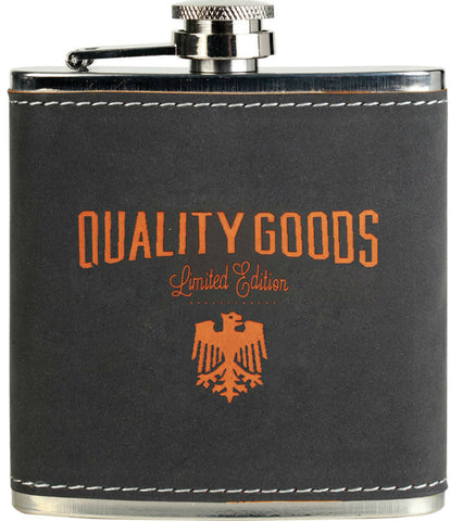 Personalized grey and orange faux leather flask