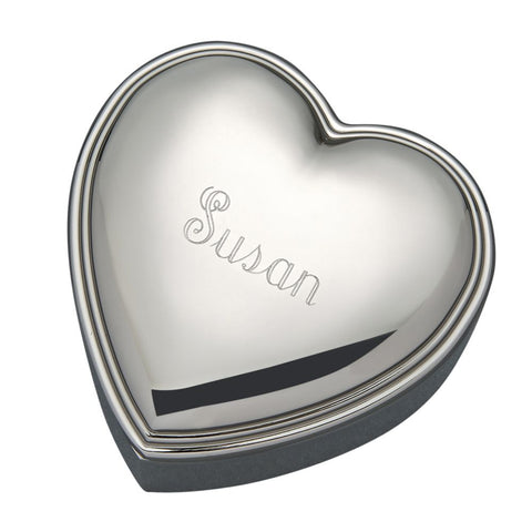 Personalized silver heart shaped jewelry box.
