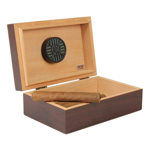 Dark cherry colored wood hinged cigar humidor displaying a cigar. The wood box  is opened and features a black humidor on the inside lid to keep cigars fresh.