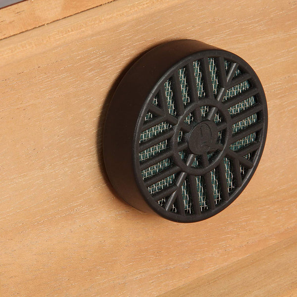 Black circular cigar humidor secured to the inside lid of the wooden cigar box.