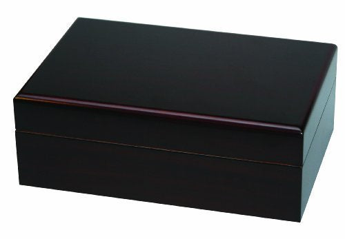 Dark cherry colored wood hinged cigar humidor closed to show four corners.