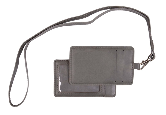 Grey leatherette engraved lanyard with two card slots on one side, and a clear ID holder on the opposite side. There is a strap attached to be worn around the neck. Lanyard is engraved with a school logo in black.