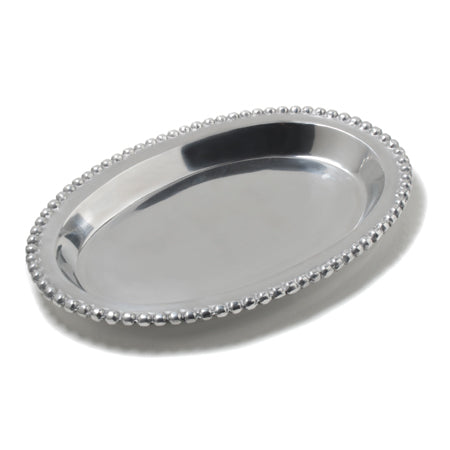 Large oval shaped tray featuring a recessed bottom and beaded edges.