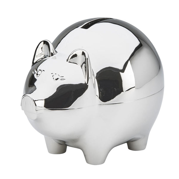 "Shiny silver metal piggy bank featuring a coin slot at the top and the name ""Patty"" engraved on the left hand side."