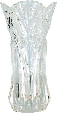 Crystal vase with an ornate design and fluted top.
