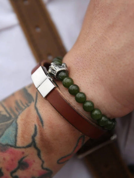 Engraved leather bracelet.