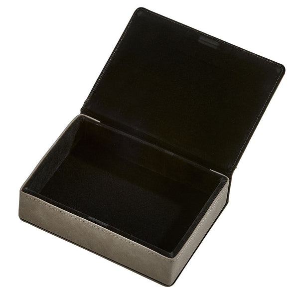 Grey leatherette keepsake box with photo insert on the lid and monogrammed beneath the photo. Engraving is black. Inside is lined in black velvet.