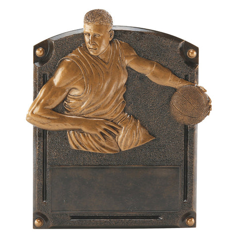 Bronze rectangular basketball resin featuring a curved top and a basketball player dribbling.