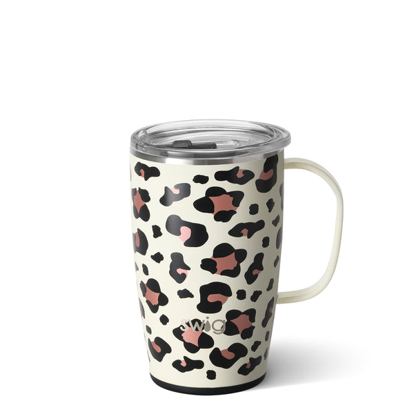 Swig brand 18 oz coffee mug tumbler featuring a clear lid. The tumbler is designed with a cream colored background and has rose gold and black leopard spots throughout.