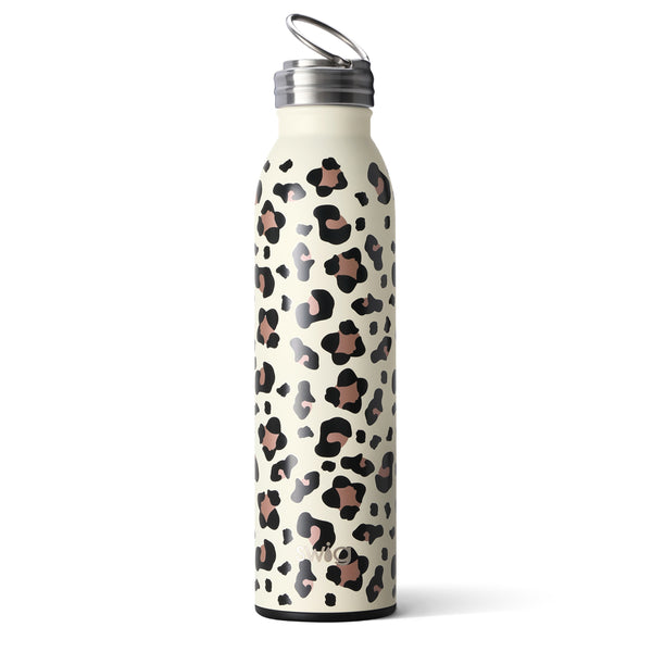 Swig brand 20 oz bottle tumbler featuring a screw off lid. The tumbler is designed with a cream colored background and has rose gold and black leopard spots throughout.