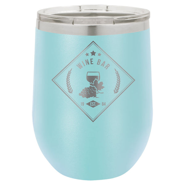 Light blue 12 oz stemless wine tumbler engraved with clear plastic lid