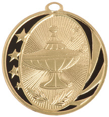 Gold and black academic medal with stars and lamp of knowledge design