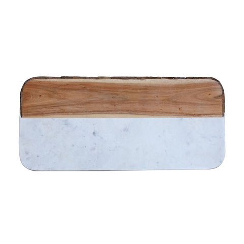 Rectangle cutting board featuring marble slab and wood section with real bark edge design.
