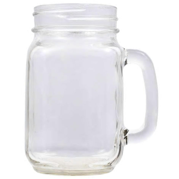 Clear glass mason jar drinking glass with handle that can be engraved with a special message.