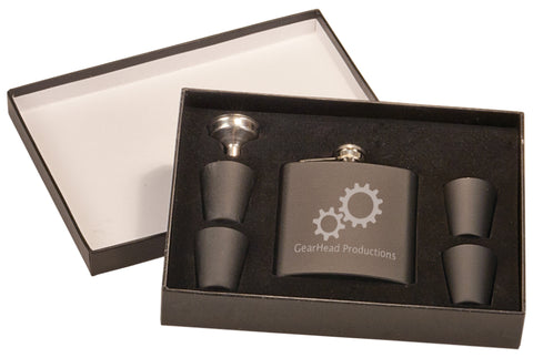 Personalized matte black flask and four shot glasses.