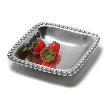 Shiny silver small square shaped tray with a beaded edge. Center of the tray can be engraved with a special message.