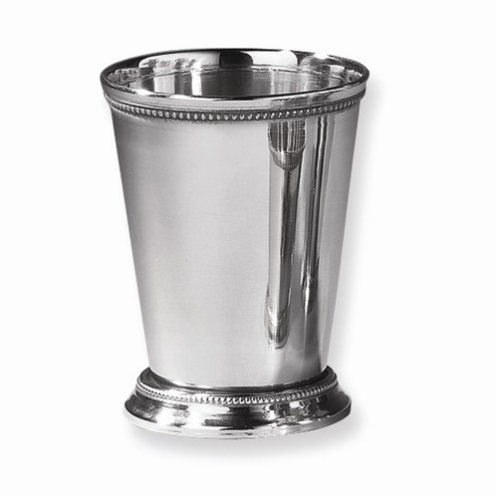 Shiny silver mint julep cup with a beaded design on the top and bottom of the cup.