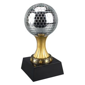 Disco ball trophy featuring a black square base and a gold stem with stars on it holding up a silver disco ball.