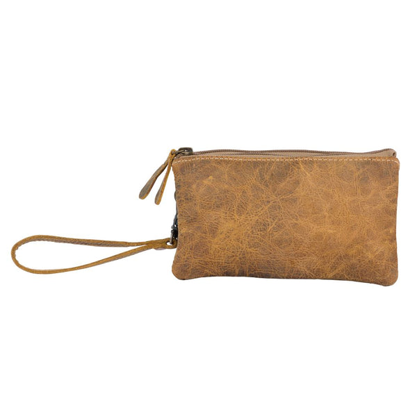 leather wristlet with zippers