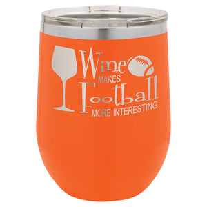 Orange 12 oz stemless wine tumbler engraved with clear plastic lid