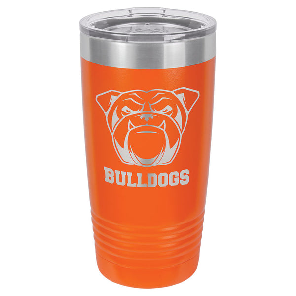 Orange engraved tumbler with a skinny ribbed bottom to fit in a cup holder. Comes with a clear plastic lid.