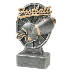 "Silver football resin featuring a rectagle base with an oval shape attached. Inside the oval is a football helmet and football. Above that reads ""Football"" in a gold cursive font."