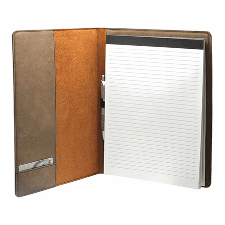 Tan leatherette portfolio opened up to reveal a small pocket on the left hand cover, a note pad on the right hand over, and a pen in an elastic holder in the center.