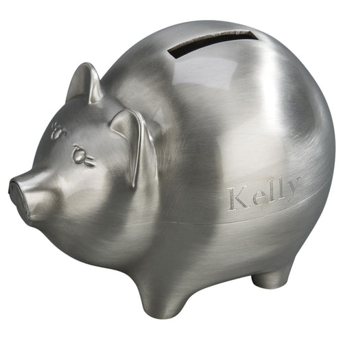 Brushed silver metal piggy bank featuring a coin slot on the top and engraved with a name on the left hand side.
