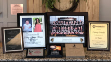 Load image into Gallery viewer, All sizes and colors of engraved plaques, picture plaques, and awards.