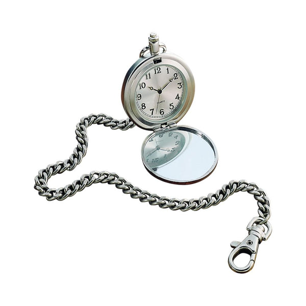 Silver pocket watch featuring a chain with a lobster claw clasp on the end. The clock itself opens up to reveal a white face with black hands and numbers. The opposite side of the clock is a mirror that can be engraved.