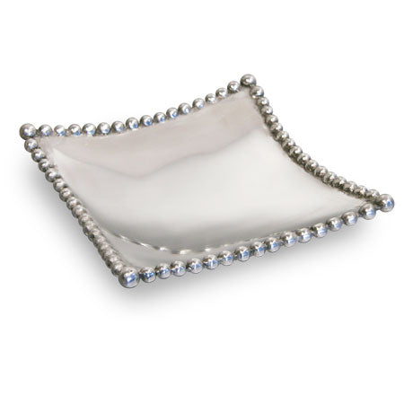 Shiny silver medium sized square shaped tray with a beaded edge and pointed edges. Center of the tray can be engraved with a special message.