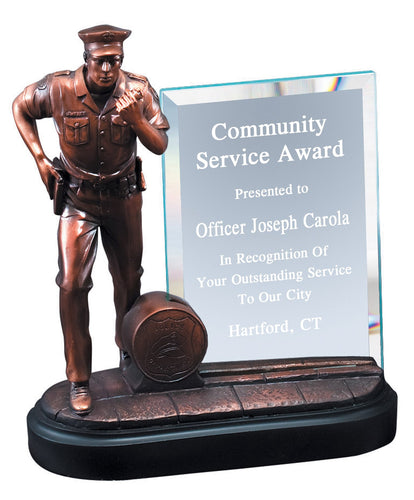 Service Award - Police w/ Glass
