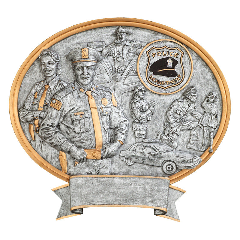 Silver oval shaped police award resin featuring a gold outline, a male and female cop, a cop in the background getting out of a squad car, a black police hat, an a policeman kneeling down talking to a little girl.