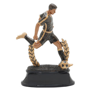 Black and gold soccer trophy featuring a black oval shaped base, a wreath, and a male soccer player with his leg extended as if he is about to kick a soccer ball.