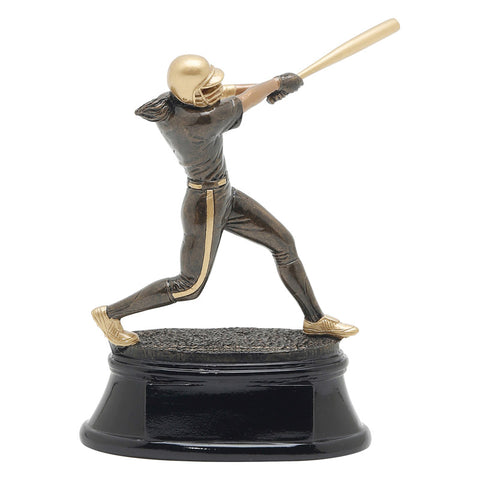 Black and gold softball trophy featuring a black oval shaped base and a female softball player attached with her bat up as if she is mid swing.