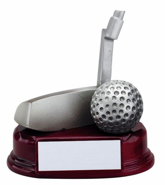 Golf putter trophy featuring an oval shaped glossy rosewood base with a silver plate for engraving. On top of the base sits a silver golf ball and putter head.