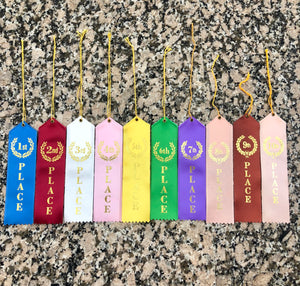 First through tenth place award lapel ribbons for any occasion. Blue, maroon, white, pink, yellow, green, and purple are available with gold foiled writing and wreath design around number.