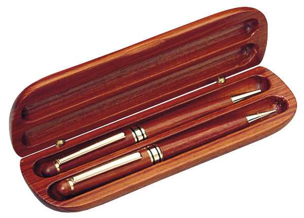 Rosewood pen and penceil set in a slender oval rosewood case. Pen and pencil feature shiny gold tips and and clips.