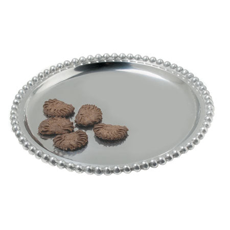 Round shiny silver tray with a beaded edge. The shiny silver tray can be engraved in the center.