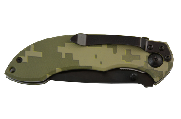 Digital camouflage knife that is engraved with a company logo on the handle. There is a black clip attached to the back side of the knife.
